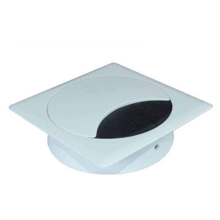 Kabeldoorvoer metaal vierkant wit