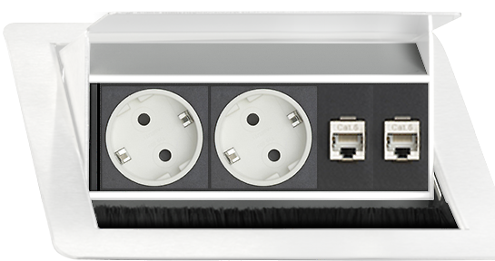 Evoline Inbouw Powerbox Flip Top Push Small 2x Stroom 2x Data Wit