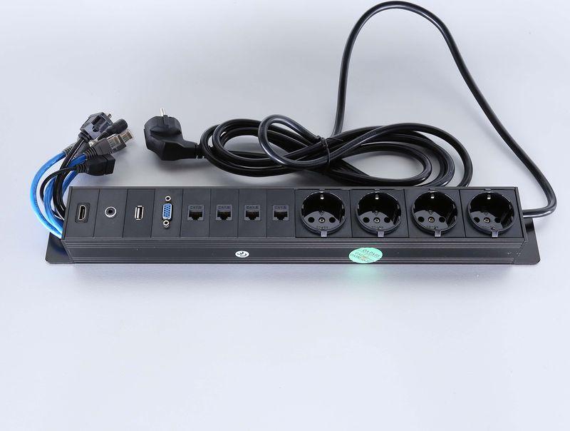 Götessons Powerinlay 4 x Stroom, 4 x Data, 1 x VGA, 1 x USB, 1 x Audio en 1 x HDMI