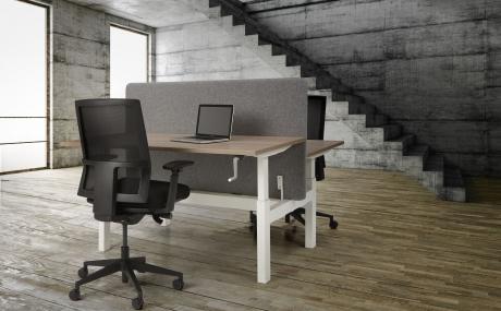 Orange Office duo werkplek H-poot met slingerverstelling 160 x 80 cm