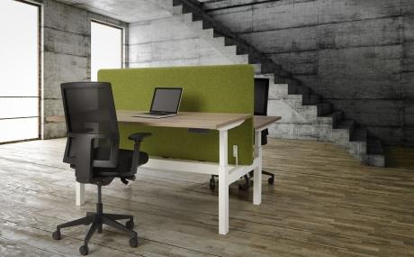 Orange Office duo werkplek H-poot elektrisch verstelbaar 180 x 165 cm