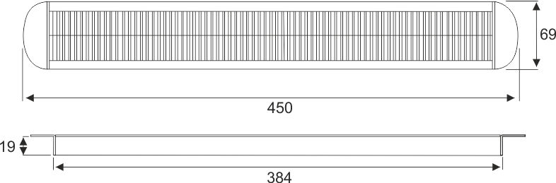 Kabeldoorvoer 69 x 450 x 19mm Aluminium rond  423027.069045019.000 4
