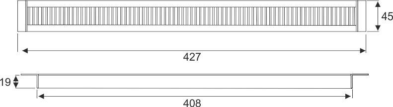 Kabeldoorvoer 45 x 427 x 19mm Aluminium recht  423027.045042720.000 4