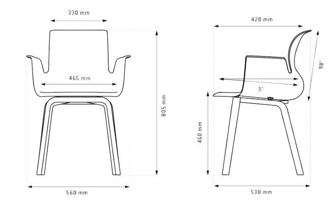 Flötotto Pro Chair houten onderstel armleuningen  30.195.632 2