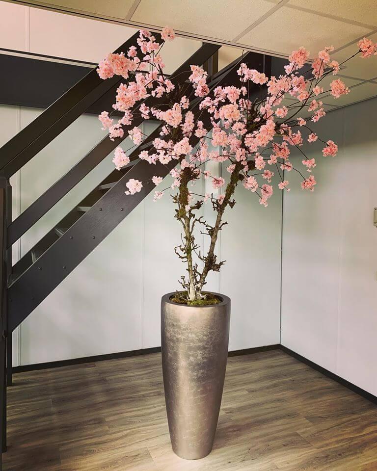 XL roze bloesemboom van kunstzijden inclusief pot   1