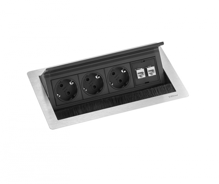 Evoline Inbouw Powerbox Flip Top Push Medium 3x Stroom 2x Data  4730051.03020001.096 1