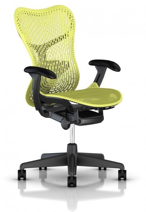 Herman Miller Mirra 2 lime bureaustoel MRF131  MRF131AWAP N2 G1 BB ZS BK 1