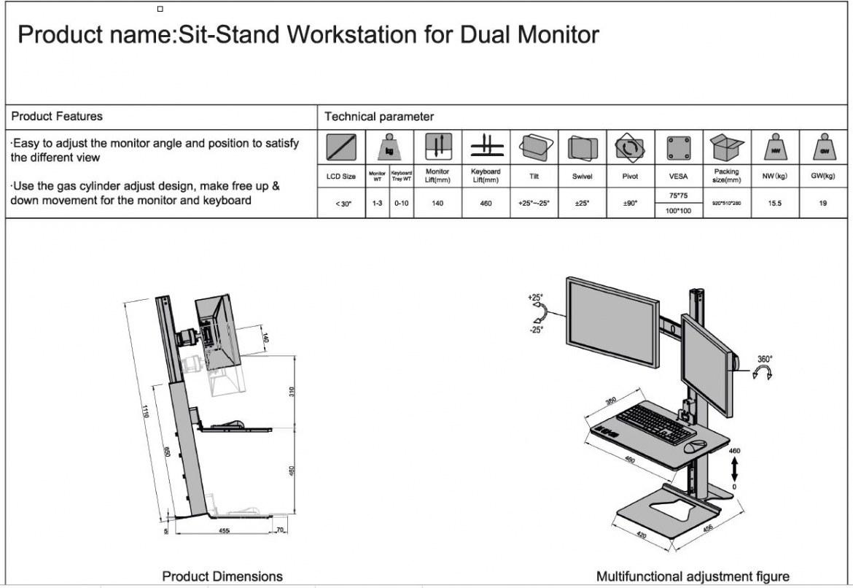 Zit-Sta Werkstation voor dubbele monitors  472260.020000000.001 4