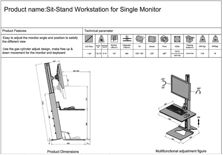 Zit-Sta Werkstation voor enkele monitor  472260.010000000.001 4