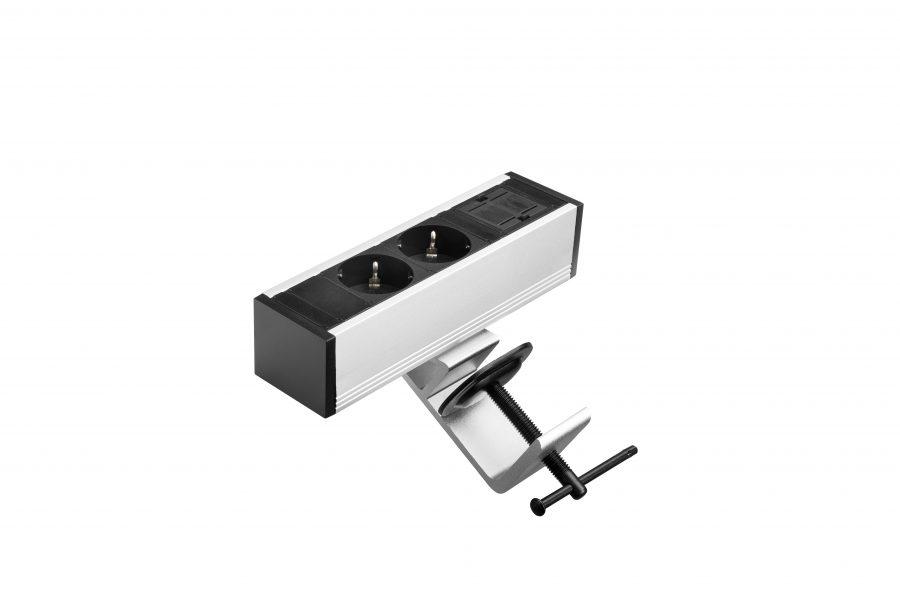 Thovip Power Desk up 2 x stroom + 1 x leeg (alu/zwart)  4730017.02010000.000 3