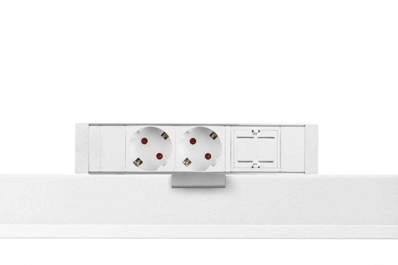 Thovip Power Desk up 2 x stroom + 1 x leeg (alu/wit)  4730017.02010000.001 1