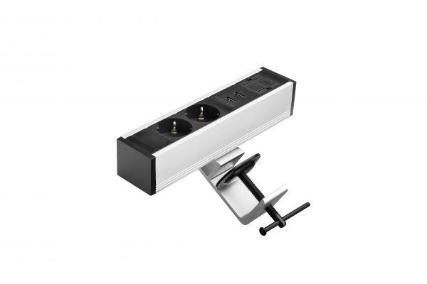 Thovip Power Desk up 2 x stroom + 2 USB charger + 1 x leeg (alu/zwart)   4730017.02020100.000 3