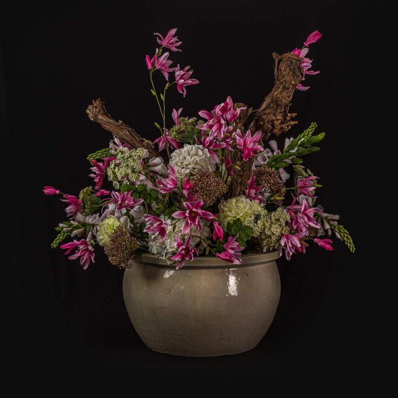 Zijden bloemstuk in pot