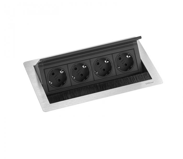 Evoline Inbouw Powerbox Flip Top Push Medium 4x Stroom