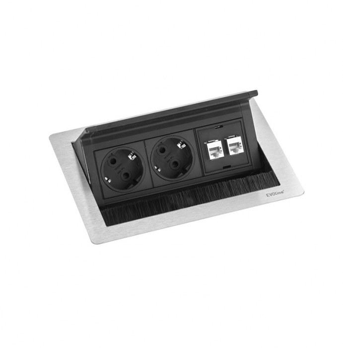 Evoline Inbouw Powerbox Flip Top Push Small 2x Stroom 2x Data