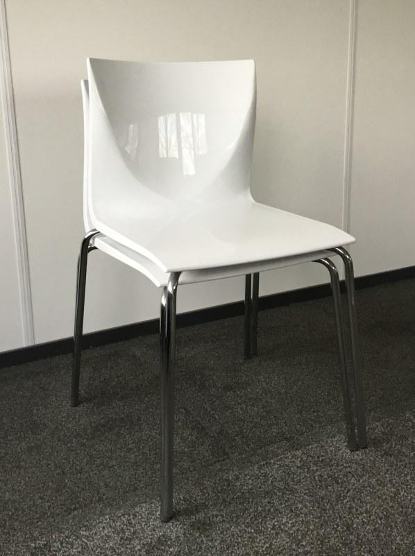Kantinestoel wit set van 2