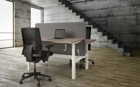 Orange Office duo werkplek H-poot met slingerverstelling 120 x 80 cm