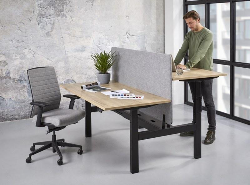Orange Office duo werkplek H-poot elektrisch verstelbaar 180 x 166 cm