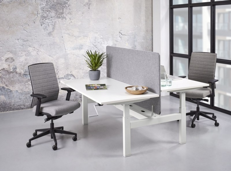 Orange Office duo werkplek H-poot met slingerverstelling 180 x 166 cm
