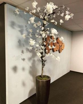 Bloesemboom wit kunstzijden inclusief pot   0