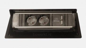 Bachmann CONI inbouwmodule 2x stroom 2x USB-charger  4730060.02370139+4730060.02020000.000 0
