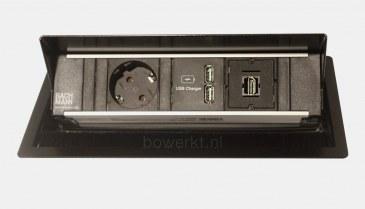 Bachmann CONI inbouwmodule 1x stroom 2x USB charger 1x HDMI  BM-CONI-KORT-03 0