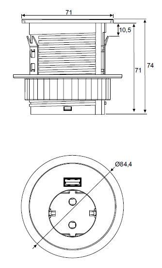 Spot Inbouwmodule 1x Stroom 1x USB charger 4730164  4730164.01010000 2