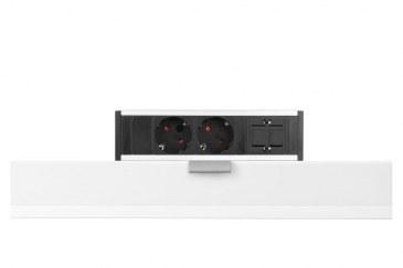 Thovip Power Desk up 2 x stroom + 1 x leeg (alu/zwart)  4730017.02010000.000 0