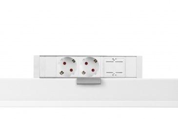 Thovip Power Desk up 2 x stroom + 1 x leeg (alu/wit)  4730017.02010000.001 0