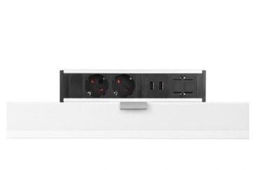 Thovip Power Desk up 2 x stroom + 2 USB charger + 1 x leeg (alu/zwart)   4730017.02020100.000 0